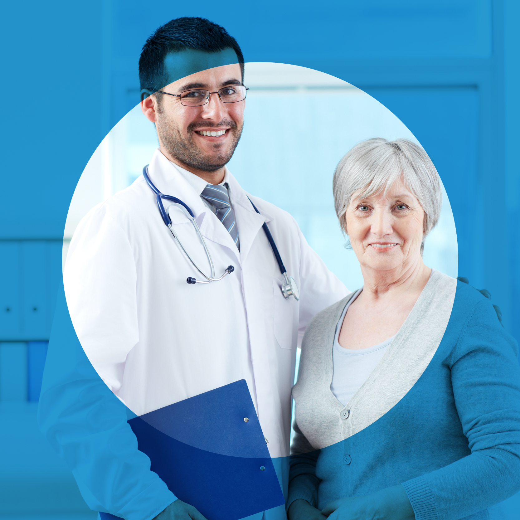 Doctor standing with patient