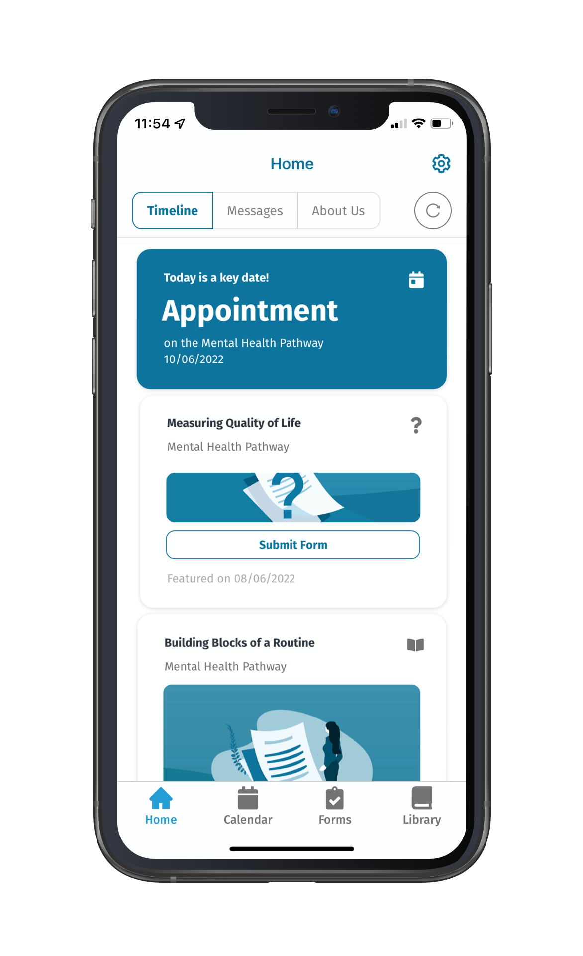 Example of the mobile app